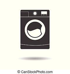 lakás, mosás, egyszerű, -, elszigetelt, gép, háttér, vektor, tervezés, fehér, ikon