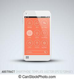 lakás, mozgatható, modern, telefon, user interface