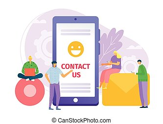 lakás, mozgatható, tervezés, bennünket, internet, illustration., fogalom, vektor, smartphone, üzenet, háttér, háló, telefon., ügy, érintkezés