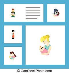 lakás, nő, állhatatos, csecsemő, elements., szülő, beleértve, újszülött, is, vektor, anya, objects., gyermek, más, ikon