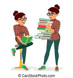 lakás, nő, könyvtár, izbogis, klub, tanulás, egyetem, elszigetelt, ábra, kazal, nagy, könyv, szállítás, elméleti, vector., karikatúra, concept., books., student.