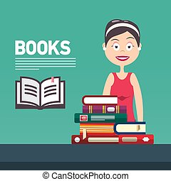 lakás, nő, tudás, concept., tanul, -, fiatal, irodalom, vektor, előjegyez, könyvtár, diák, bookstore., tervezés, oktatás, vagy