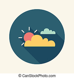 lakás, nap, hosszú, árnyék, felhő, ikon