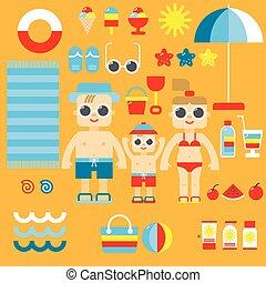 lakás, nyár, ikonok, gyűjtés, tervezés, vector.