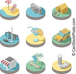 lakás, nyár, set., ikonok, szünidő, vektor, 3