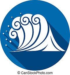 lakás, (ocean, wave), lenget, tenger, ikon