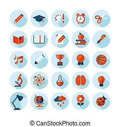 lakás, oktatás, tervezés, ikonok