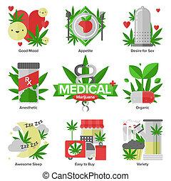lakás, orvosi, állhatatos, marihuána, ikonok