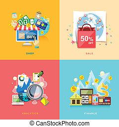 lakás, pénzel, bevásárlás, analytics, kiárusítás, tervezés, e-commerce, online