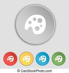 lakás, paletta, buttons., jelkép, vektor, öt, cégtábla., ikon