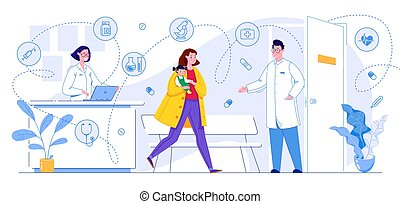 lakás, pediatrician., vektor, találkozó, cartoon., gyermek