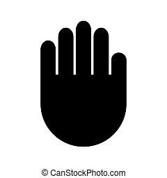 lakás, pictogram, aláír, elszigetelt, ábra, kéz, szilárd, vektor, megtöltött, fehér, pálma, jel, ikon