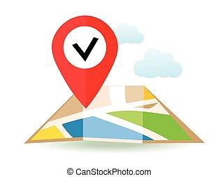 lakás, pin., térkép, map., bábu, vektor, elhelyezés, icon., mutató