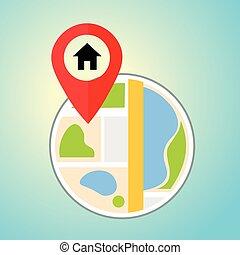 lakás, pin., térkép, map., bábu, vektor, elhelyezés, otthon, icon., mutató