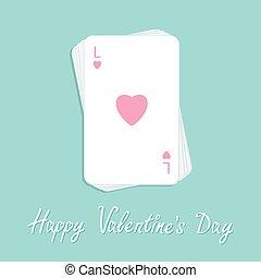 lakás, piszkavas, szeret, kazal, aláír, design., boldog, card., valentines, játék, szív, kártya, day.