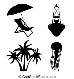 lakás, set., ábra, vektor, tenger, idegenforgalom, silhuette, ikon
