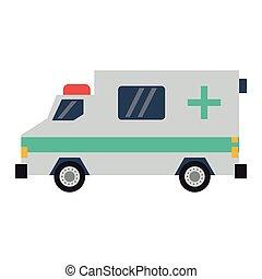 lakás, sideview, mentőautó, szükségállapot jármű