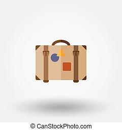 lakás, suitcase., icon.