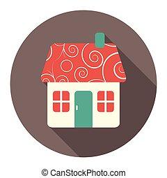 lakás, színes, épület, vektor, kerek, ikon
