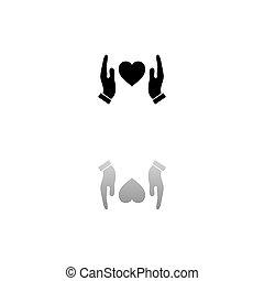 lakás, szív, kézbesít, emberi, birtok, oltalmaz, ikon