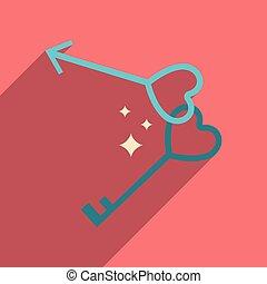 lakás, szív, kulcsok, hosszú, háló, árnyék, ikon