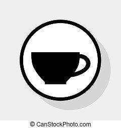 lakás, szürke, cégtábla., csésze, háttér., karika, fekete, vector., árnyék, fehér, ikon