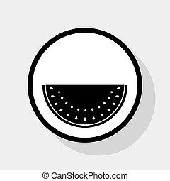 lakás, szürke, cégtábla., háttér., karika, görögdinnye, vector., fekete, árnyék, fehér, ikon