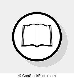lakás, szürke, cégtábla., karika, háttér., könyv, fekete, vector., árnyék, fehér, ikon