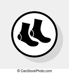 lakás, szürke, cégtábla., zokni, háttér., karika, fekete, vector., árnyék, fehér, ikon