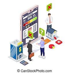 lakás, személyes, hitel, online, alacsony, értékelés, isometric, bemetsz, illustration., rossz, jelent, vektor