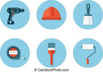 lakás, szerkesztés letesz, eszközök, ikonok