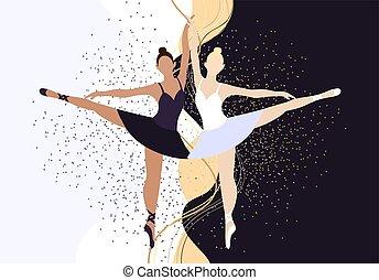 lakás, táncol, meghívás, vektor, tánc, nők, swan., fehér, poén, batyu, hair., tervezés, két, poszter, fekete, ballerinas, gyönyörű, stand., ábra, csokor, style., cipők, banner., lány, izbogis, élénkség, elegáns