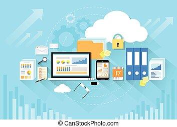 lakás, tárolás, számítógép, tervezés, eszköz, biztonság, adatok, felhő