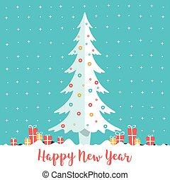 lakás, tél fa, boxes., karácsony, snow., year., vektor, ajándék, ábra, új, style., táj, boldog