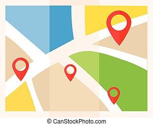 lakás, térkép, map., bábu, vektor, elhelyezés, icon., mutató, pins.