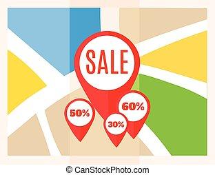 lakás, térkép, map., kiárusítás, bábu, vektor, elhelyezés, icon., mutató, pins.