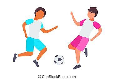 lakás, tele, párosít, labdarúgás, fehér, hosszúság, háttér, iskolások, móka, horizontális, iskolásfiúk, játék, birtoklás, sportruházat