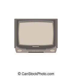 lakás, televízió, illustration., ikon, tv, szüret, isolated., vektor, tervezés, retro, eleje kilátás, bemutatás, elektromos
