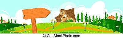 lakás, természet, láthatár, épület, falu, háttér, vektor, eco, vidéki táj, ábra, képzelet, ökológia, természetes, körképszerű, táj, karikatúra