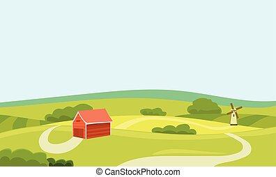 lakás, természetes, illustration., tanya, concept., house., mező, vektor, élelmiszer, friss, vidéki táj, mezőgazdaság, táj