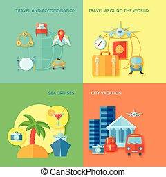 lakás, utazás, állhatatos, ikon