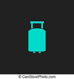 lakás, utazás, bőrönd, ikon