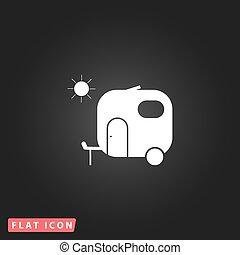 lakás, utazás, ikon, kúszónövény