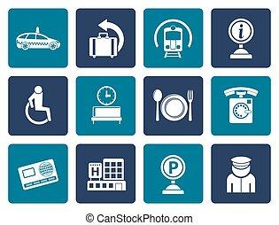 lakás, utazás, repülőtér, ikonok