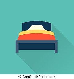 lakás, vektor, ágy, ikon