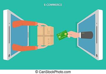 lakás, vektor, concept., e-commerce