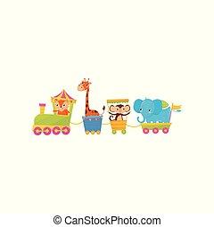 lakás, vektor, majom, színes, köszönés, train., vagy, theme., állatkert, characters., dél, könyv, tervezés, utazó, állat, elefánt, zsiráf, karikatúra, gyerekek, kártya, róka