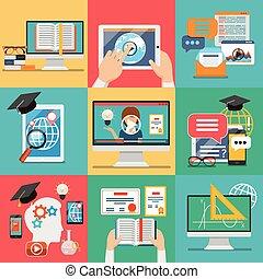 lakás, vektor, oktatás, online, ikonok