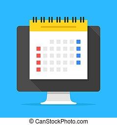 lakás, vezetőség, számítógép, menetrend, modern, screen., ábra, tervező, vektor, tervezés, gyűlés, idő, online, naptár, napirend, concepts., design.