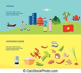 lakás, vietnamese kultúra, 2, horizontal lobogó